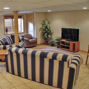 A Finished Basement Living Room Area in Stilwell, KS and MO