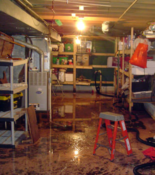a flooded home in Blue Springs