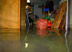 A flooded basement bedroom in Tonganoxie